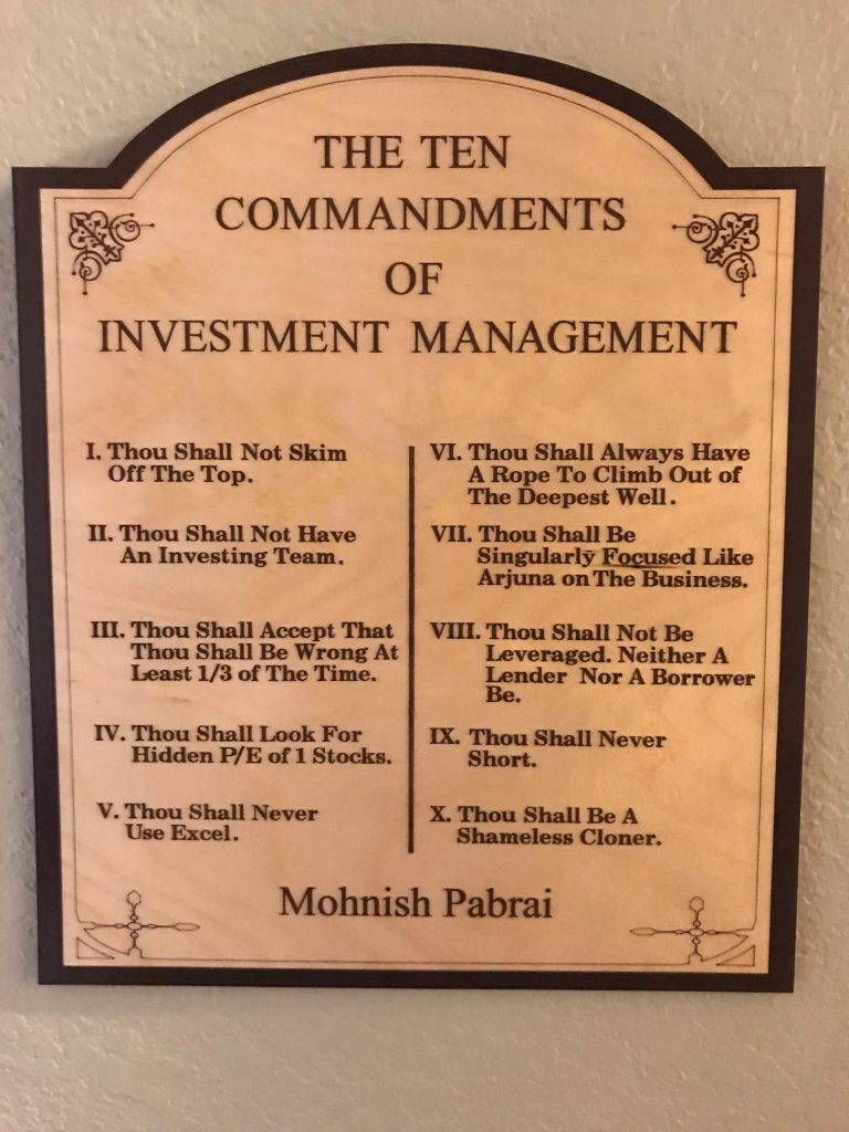 Mohnish Pabrai Ten Commandments